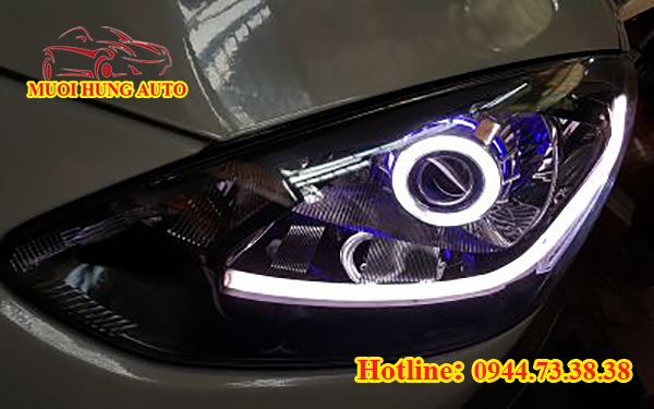 lắp đèn xenon, Led cho xe Mazda 2