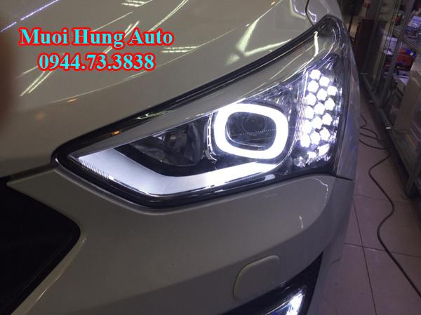 lắp đèn xenon cho xe Hyundai Santafe 201