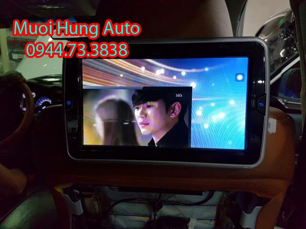 lắp đặt màn hình gối đầu Android cho xe Hyundai Santafe 2018 đẹp chất