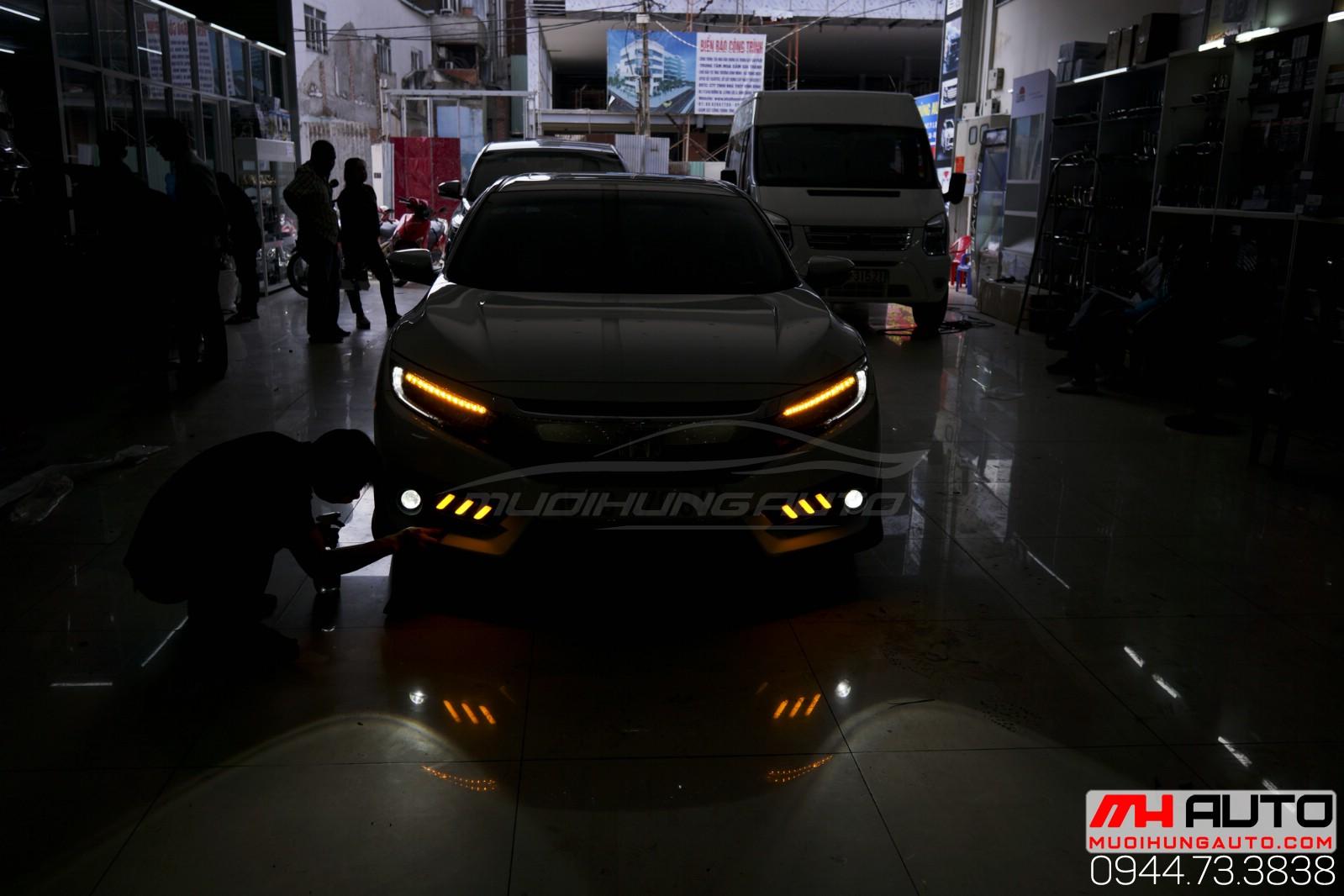 độ đèn bi xenon cản Honda Civic