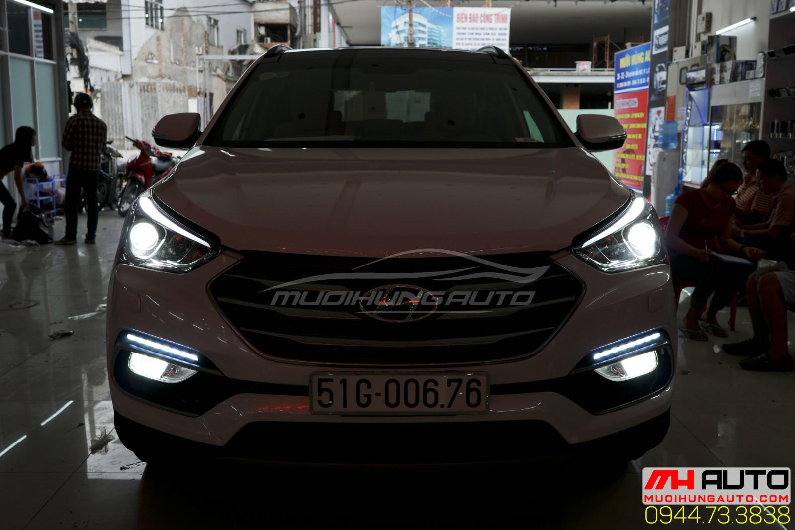 lắp Led cản Hyundai santafe