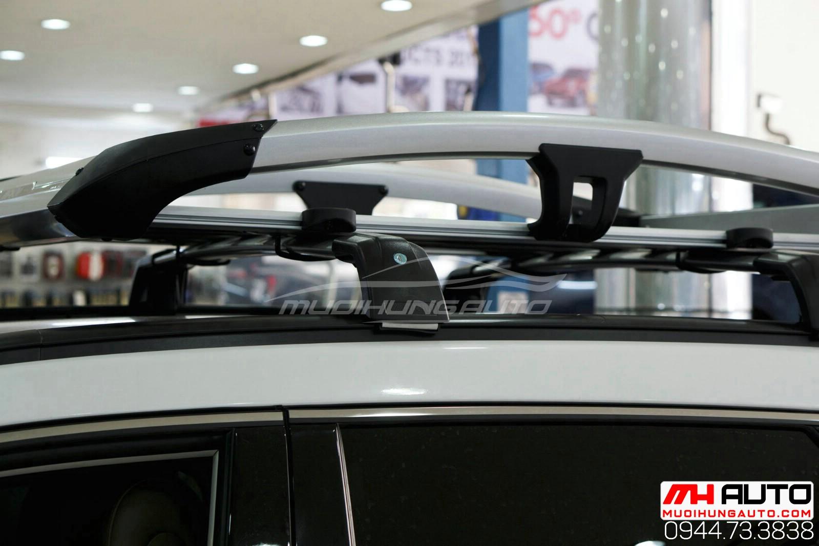Gắn ba ga mui để đồ xe Hyundai Santafe 2018