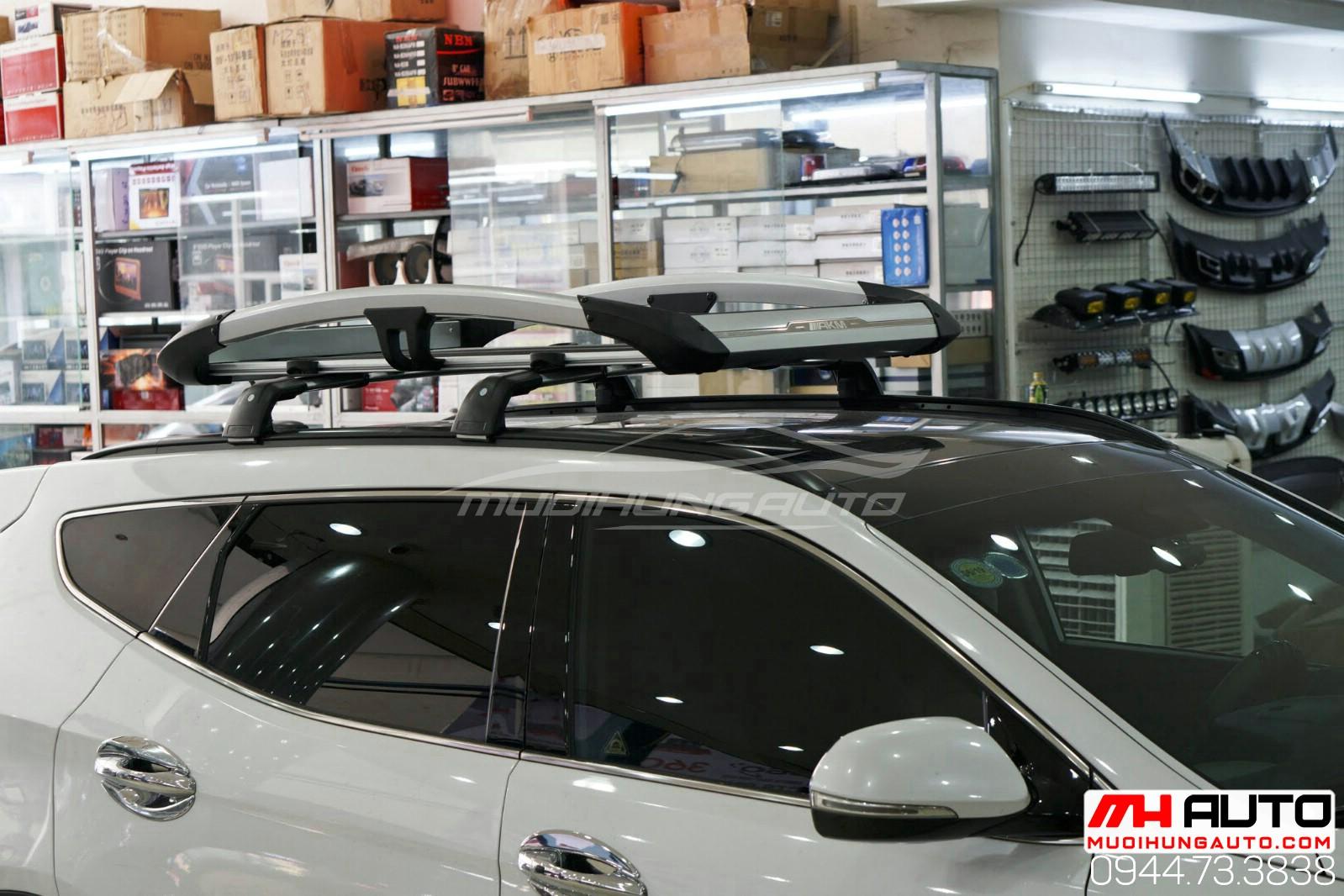 Gắn phụ kiện ba ga mui xe oto Hyundai Santafe 2018