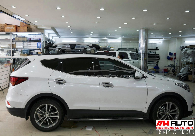 Gắn phụ kiện ba ga mui cho xe Hyundai Santafe 2018