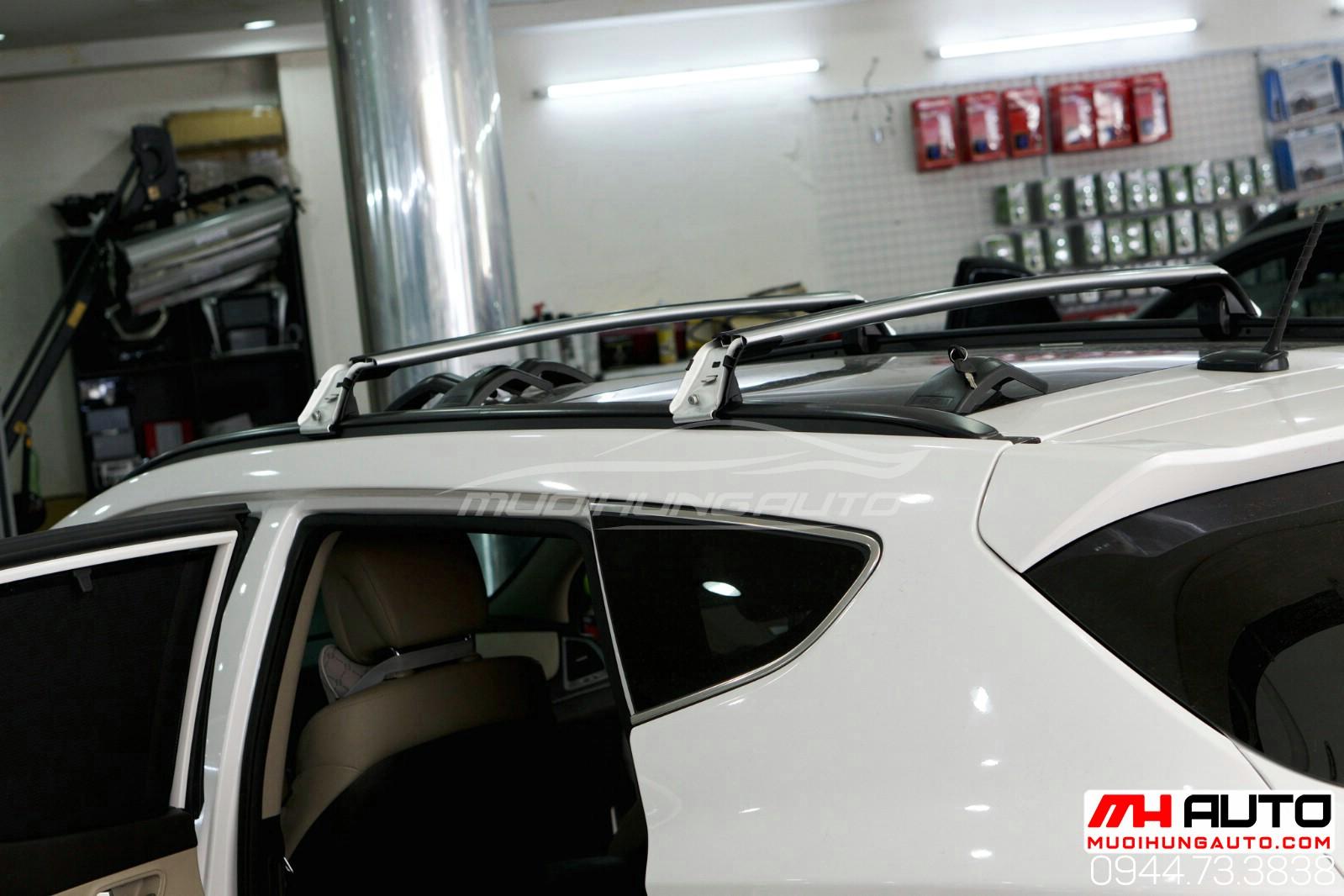 lắp đặt phụ kiện ba ga mui để đồ xe Hyundai Santafe 2018