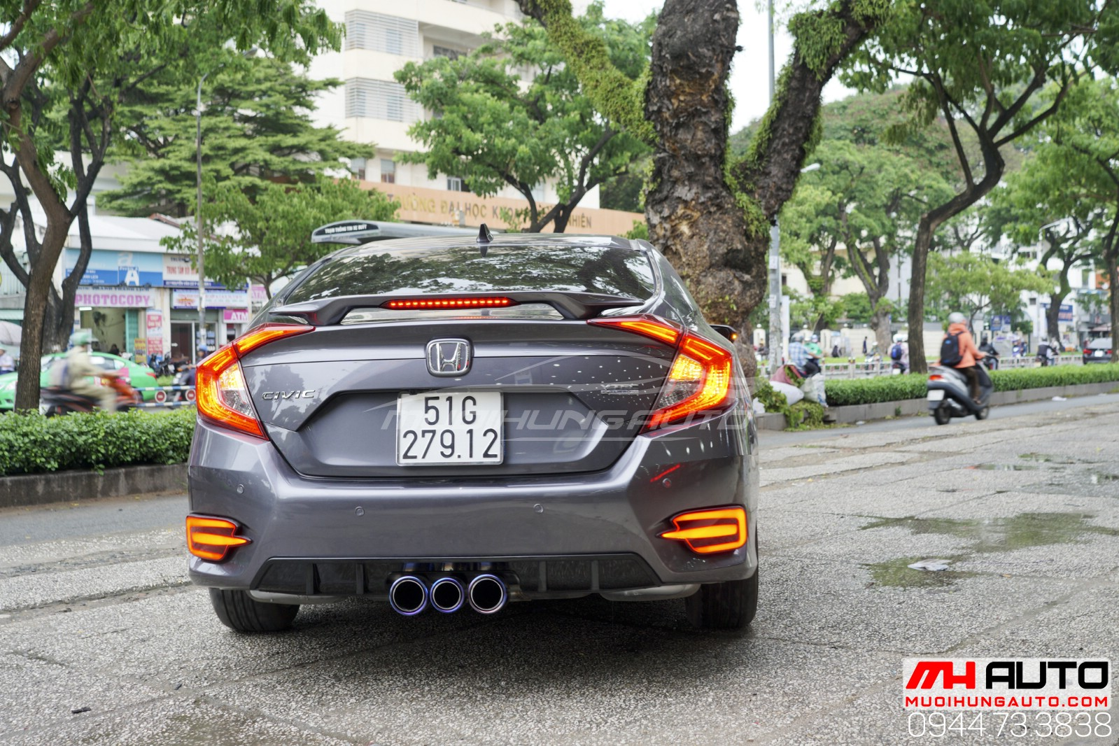 Độ pô 3 màu Honda Civic