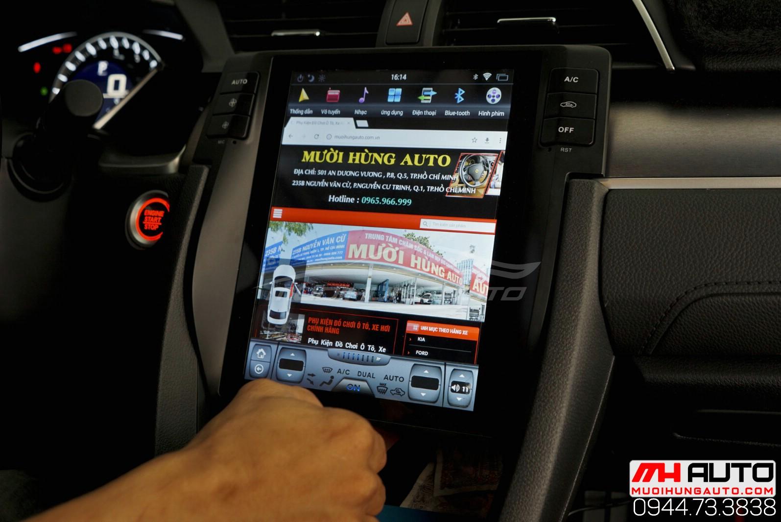 Lắp màn hình Honda Civic Androi kiểu tesla 2018