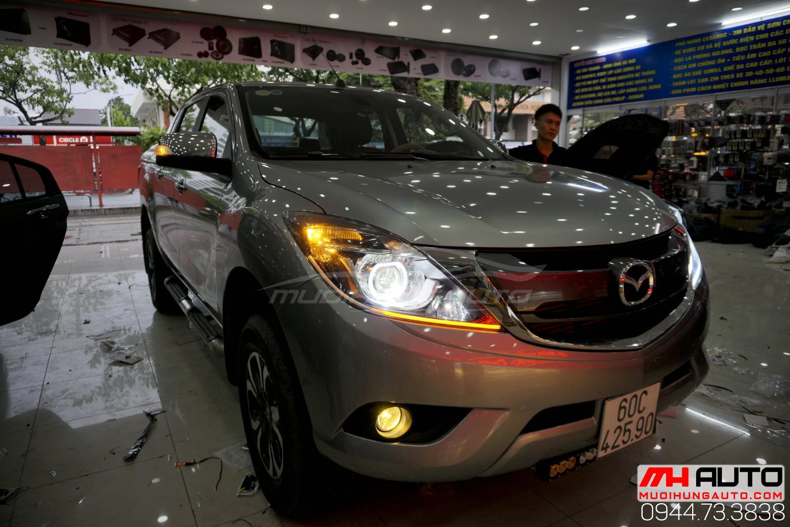 độ đèn bi led mí Mazda BT50 giá rẻ tại HCM