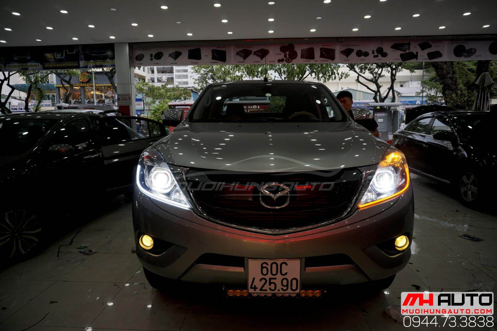 độ đèn bi led mí Mazda BT50 siêu sáng