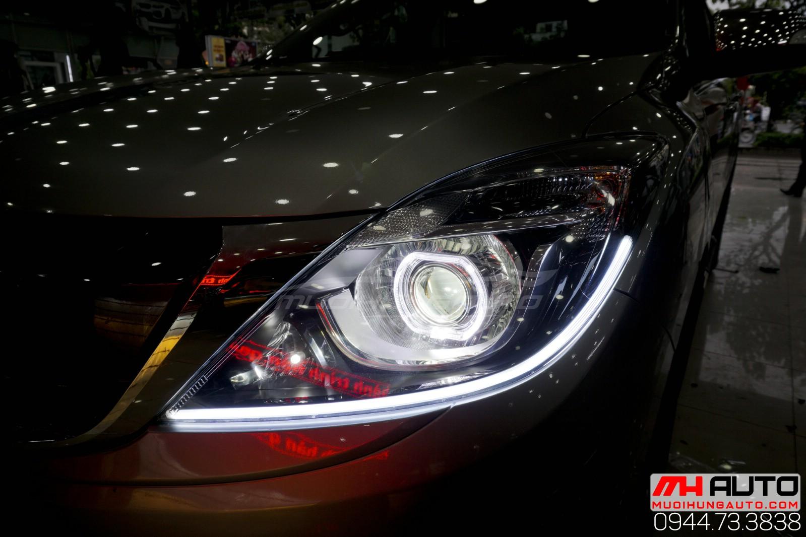 độ đèn bi led mí ô tô Mazda BT50