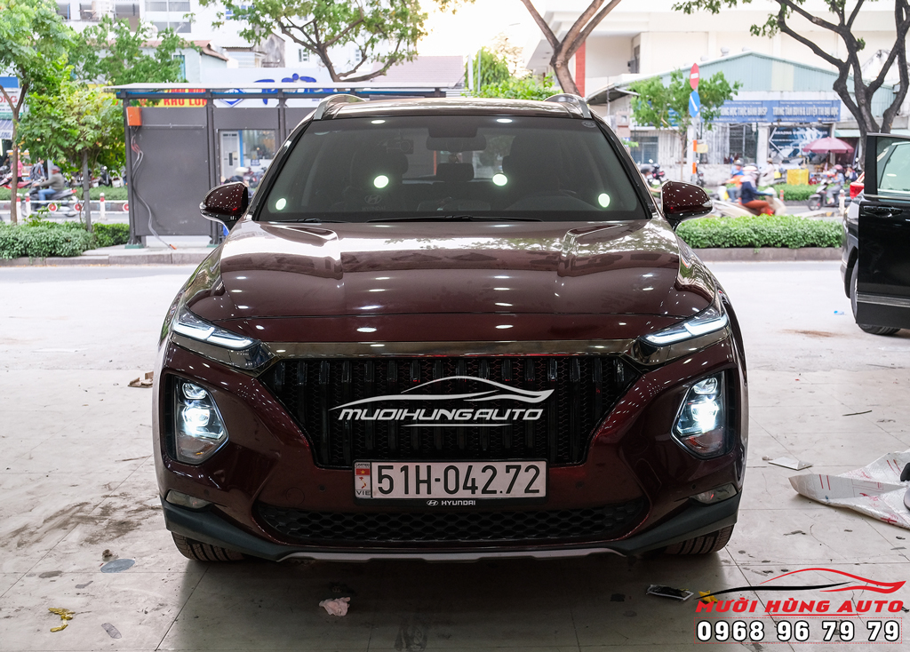 độ đèn xe Hyundai Santafe